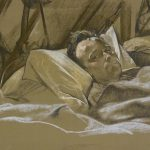 Drawing of a wounded man in hospital bed